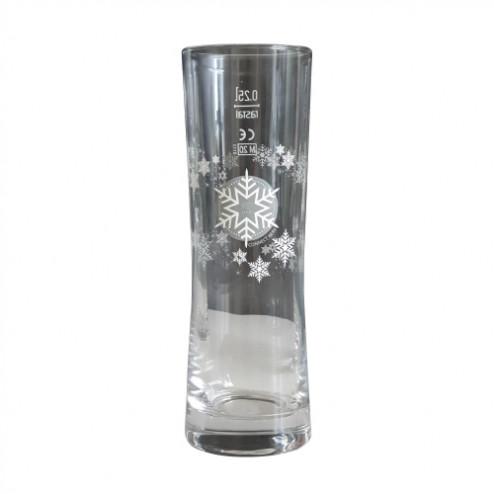 Glas mit digitaler Weihnachtskarte